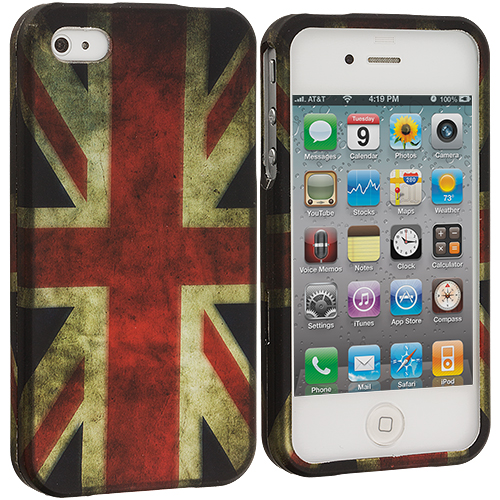 Apple iPhone 4 The Union Flag Hard Rubberized Design Case Cover