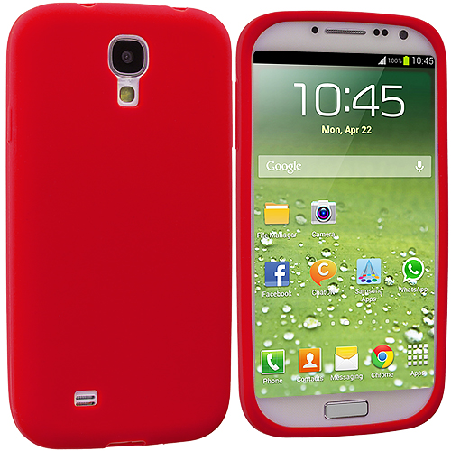 Samsung Galaxy S4 2 in 1 Combo Bundle Pack - White Red Silicone Soft Skin Case Cover : Color Red