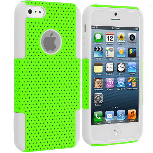 Apple iPhone 5/5S/SE Combo Pack : White / Neon Green Hybrid Mesh Hard/Soft Case Cover : Color White / Neon Green