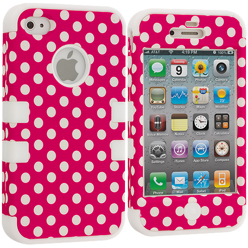 Apple iPhone 4 / 4S White / Pink Polka Dot Hybrid Tuff Hard/Soft 3-Piece Case Cover