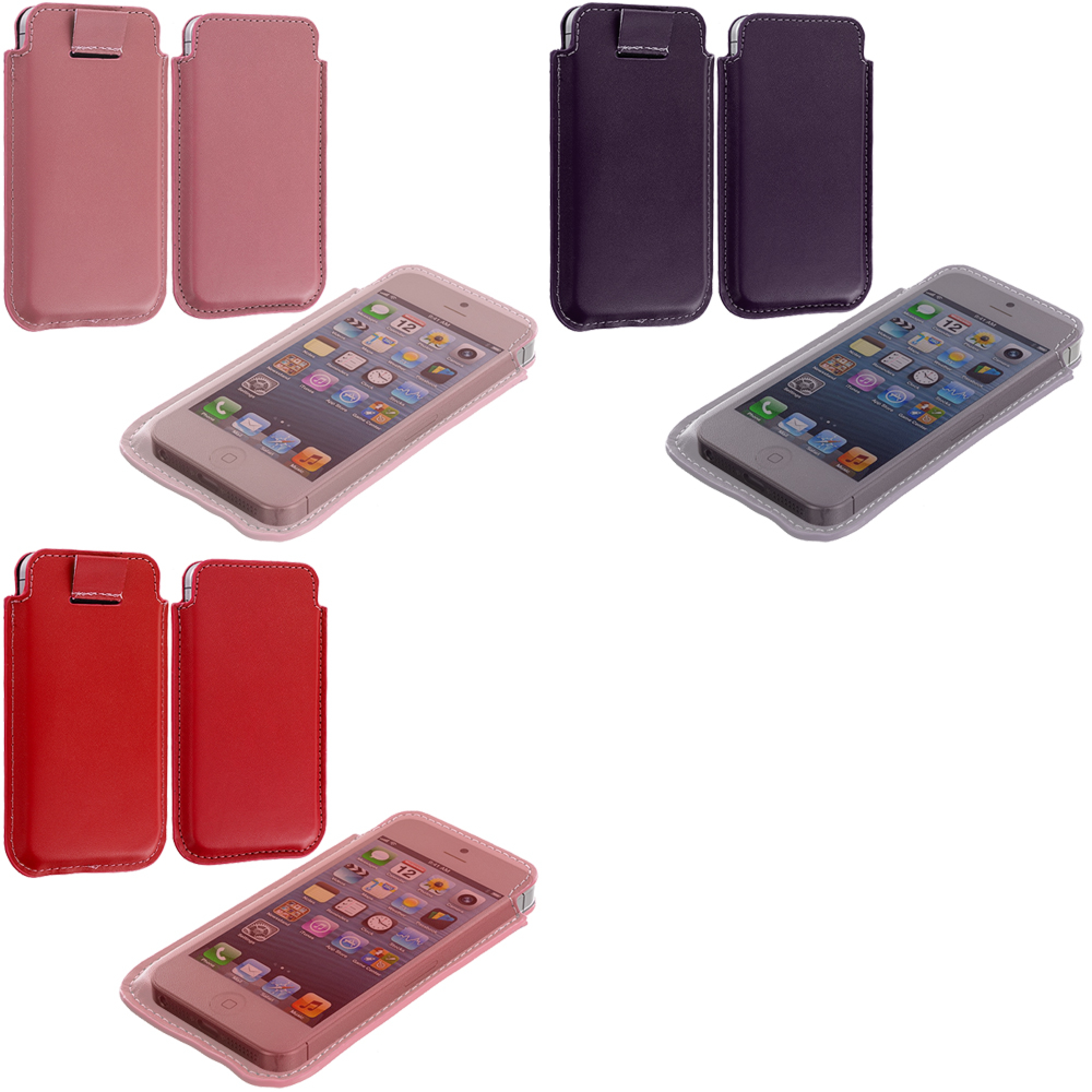 Apple iPhone 5/5S/SE Combo Pack : Pink Sleeve Pouch