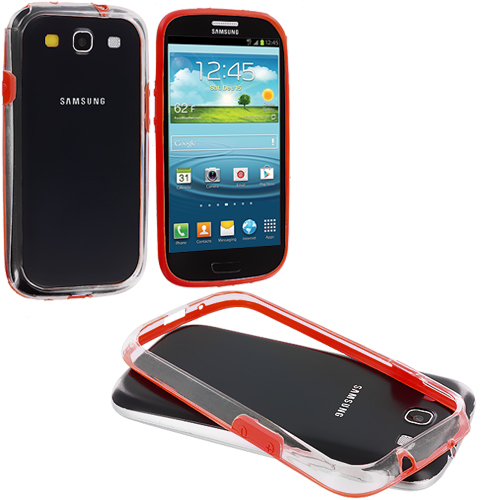 Samsung Galaxy S3 Red / Clear TPU Bumper