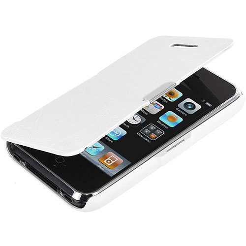 Apple iPhone 3G / 3GS White Texture Magnetic Wallet Case Cover Pouch