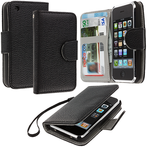 Apple iPhone 3G / 3GS Black Leather Wallet Pouch Case Cover with Slots