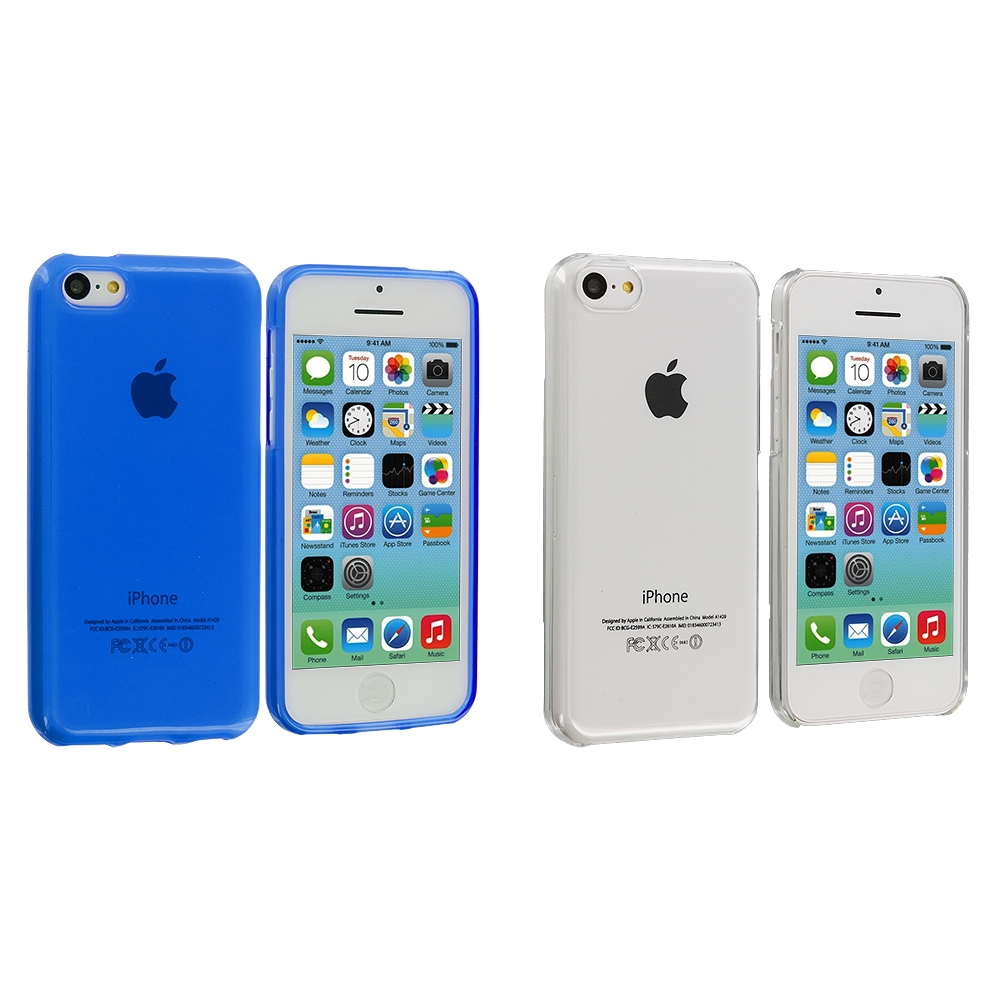 Apple iPhone 5C 2 in 1 Combo Bundle Pack - Clear Blue Transparent Crystal Hard Back Cover Case