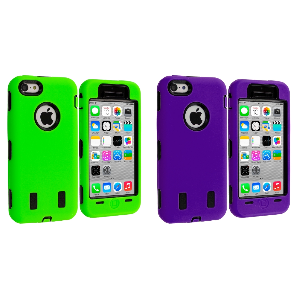 Apple iPhone 5C 2 in 1 Combo Bundle Pack - Purple / Green Hybrid Deluxe Hard/Soft Case Cover
