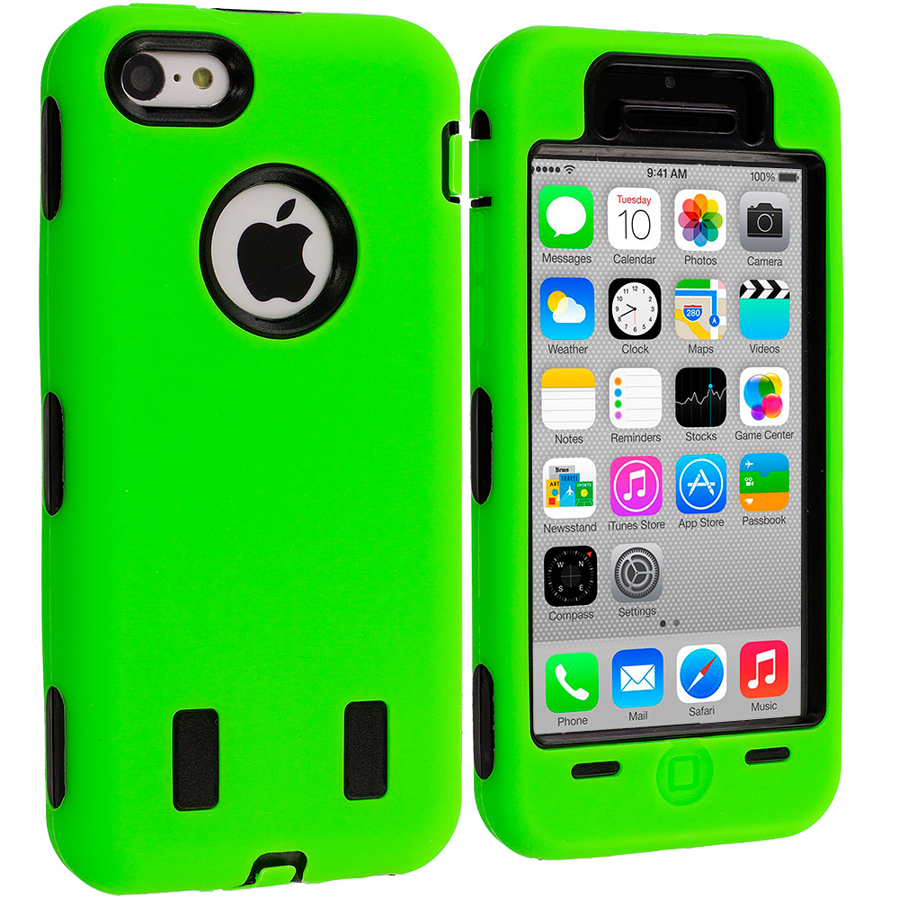 Apple iPhone 5C Neon Green / Black Hybrid Deluxe Hard/Soft Case Cover