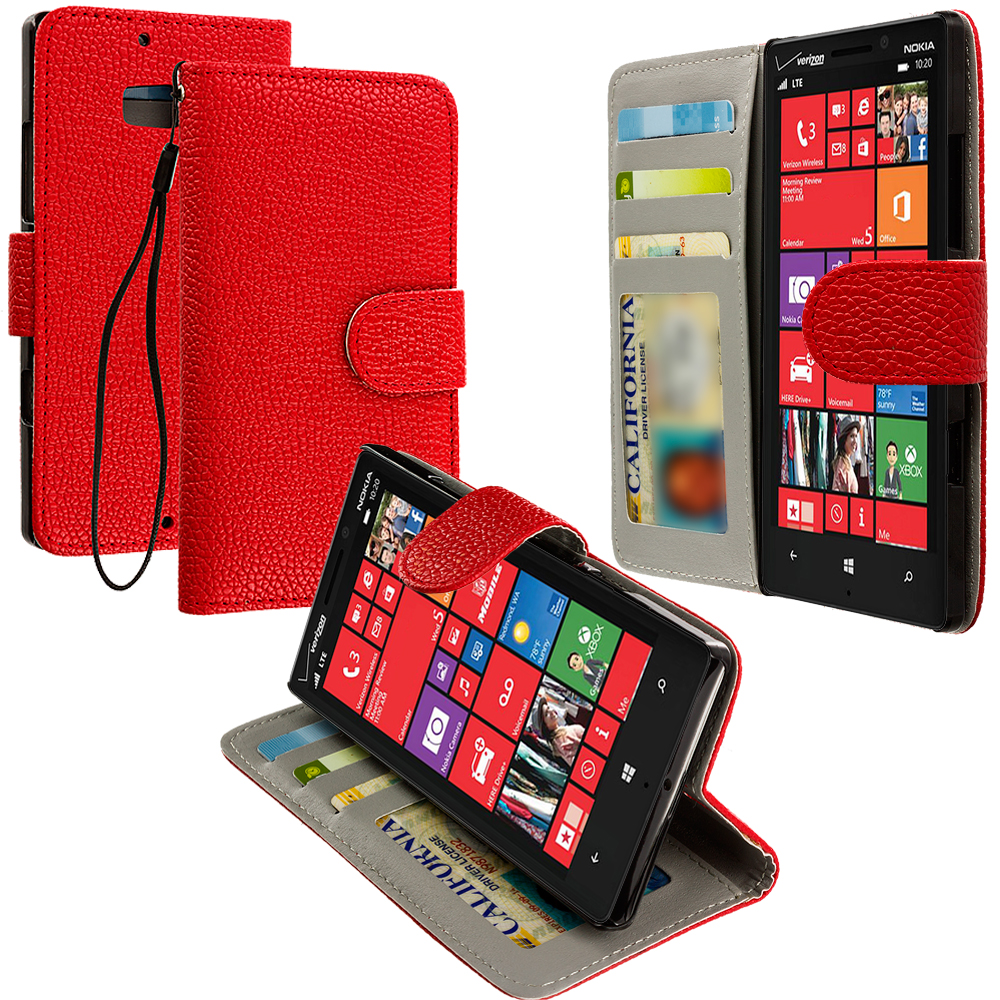 Nokia Lumia 929 Icon Red Leather Wallet Pouch Case Cover with Slots