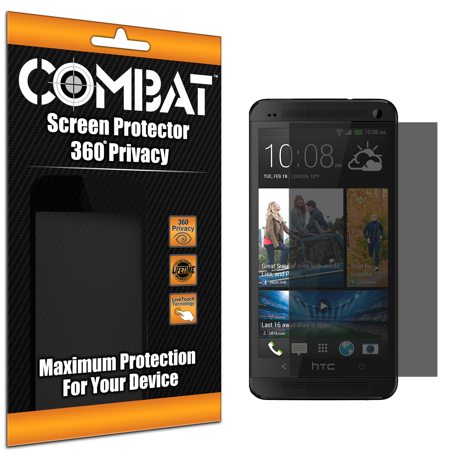 HTC One M7 Combat 360 4-Way Privacy Screen Protector
