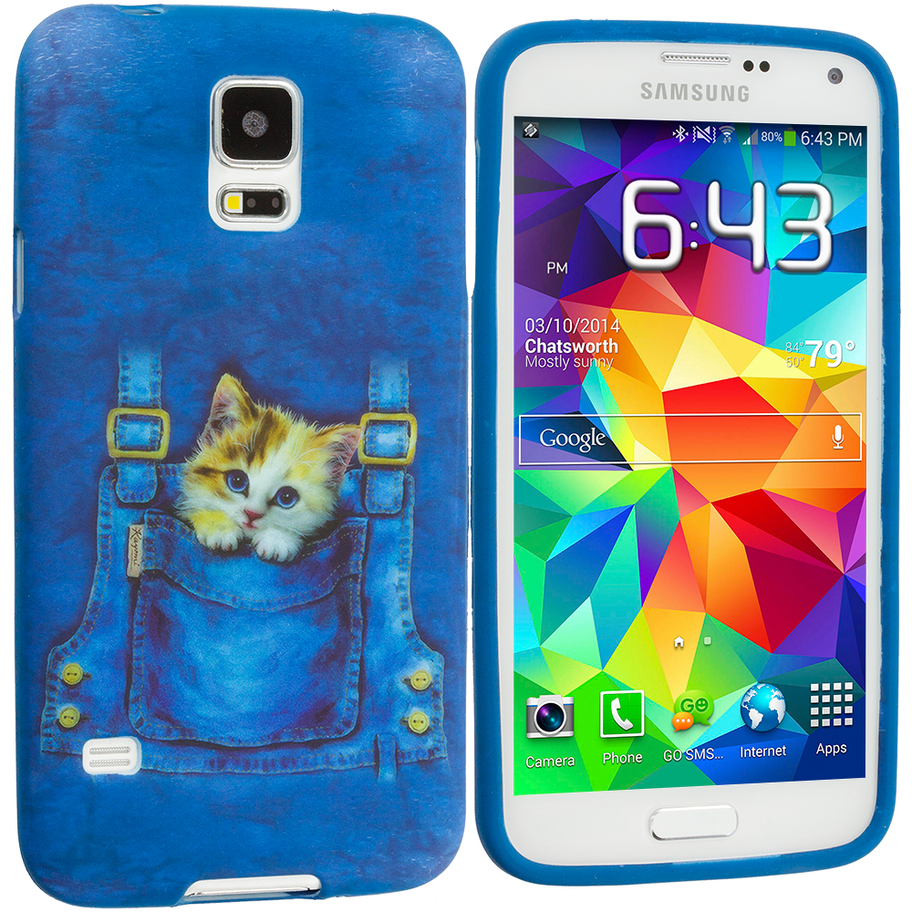 Samsung Galaxy S5 Kitty Cat Jeans TPU Design Soft Case Cover