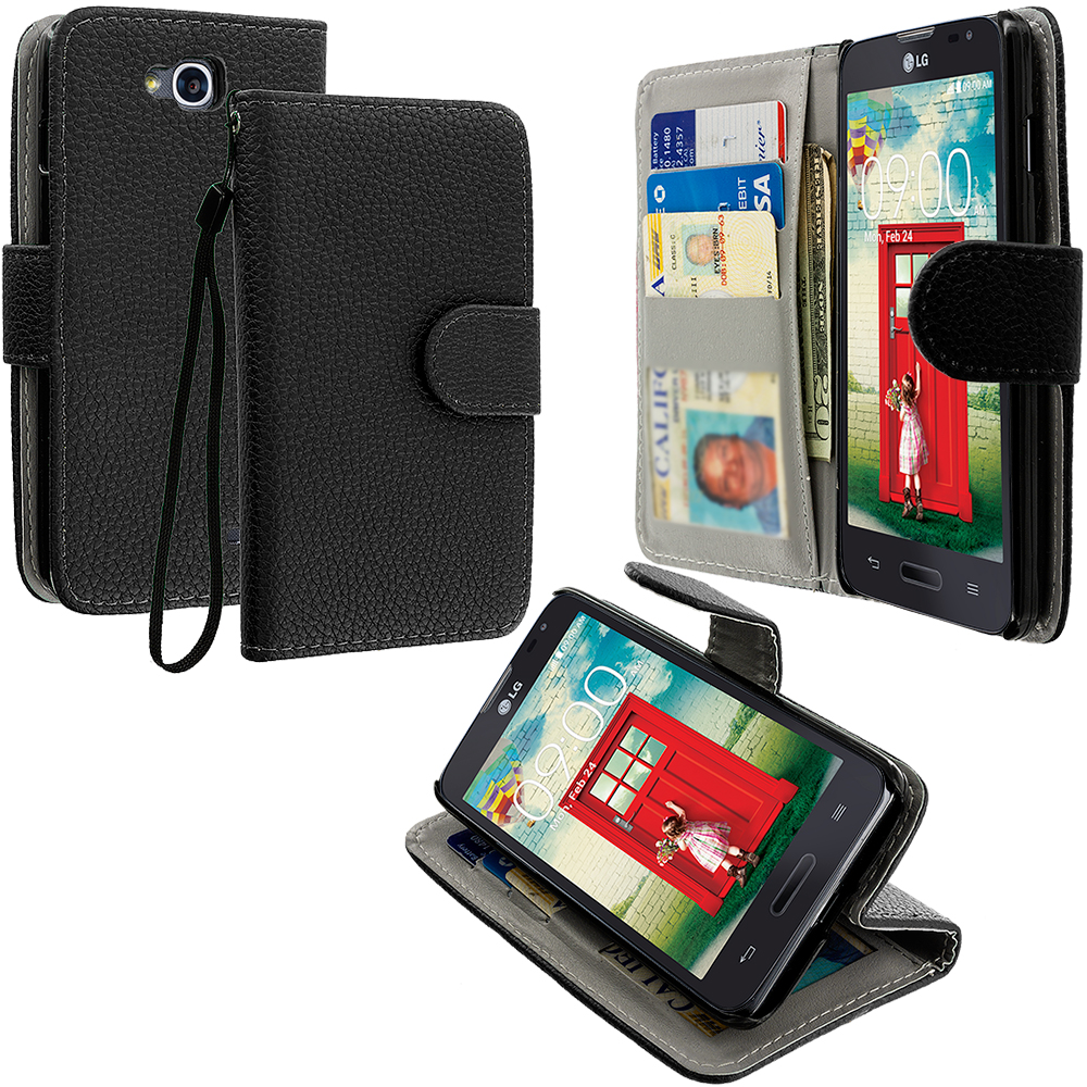 LG Optimus L90 Black Leather Wallet Pouch Case Cover with Slots