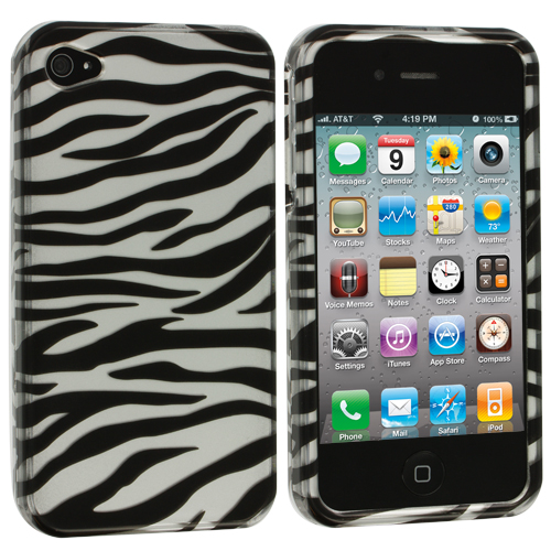 Apple iPhone 4 / 4S Black/Silver Zebra Design Crystal Hard Case Cover