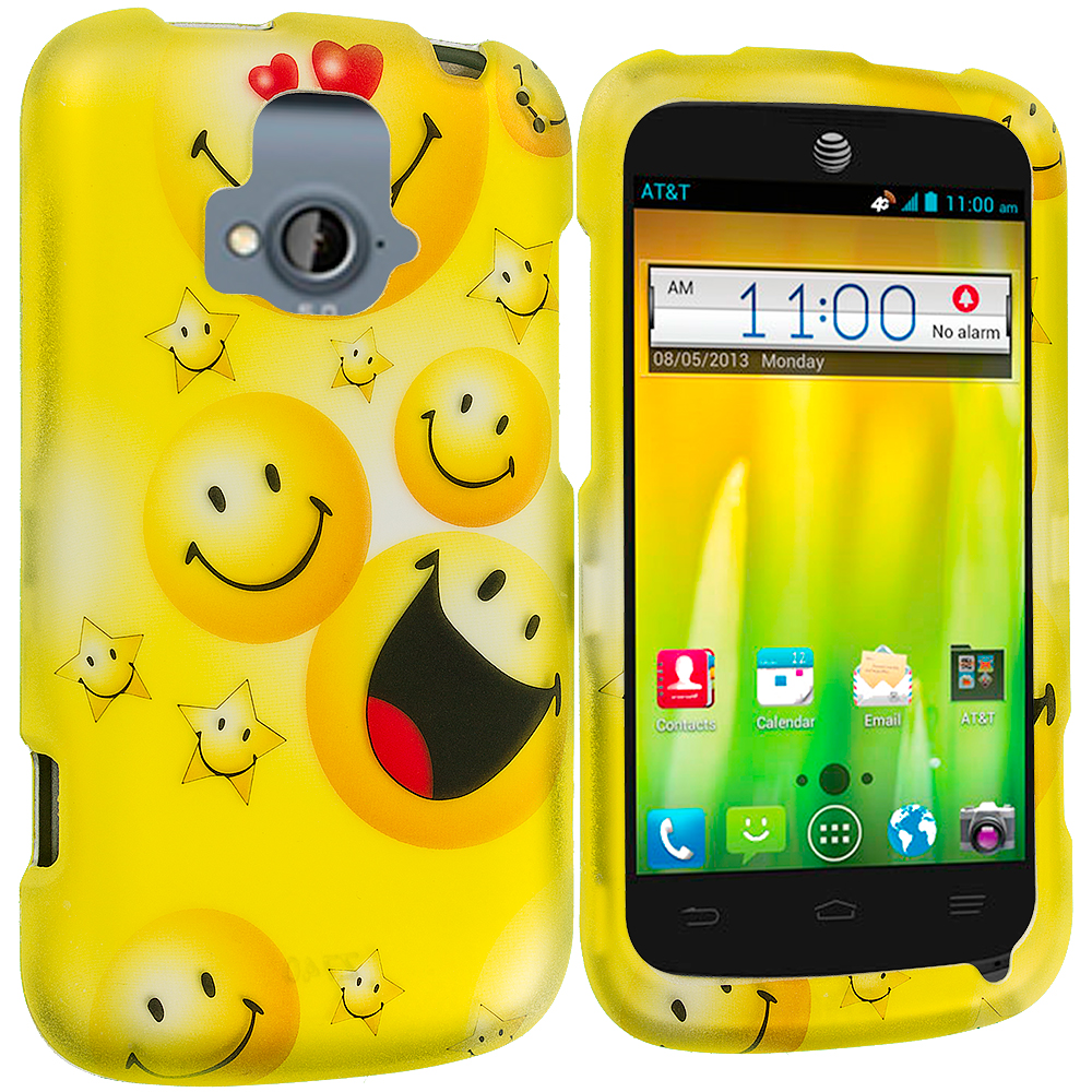 ZTE Radiant Smiley Face 2D Hard Rubberized Design Case Cover