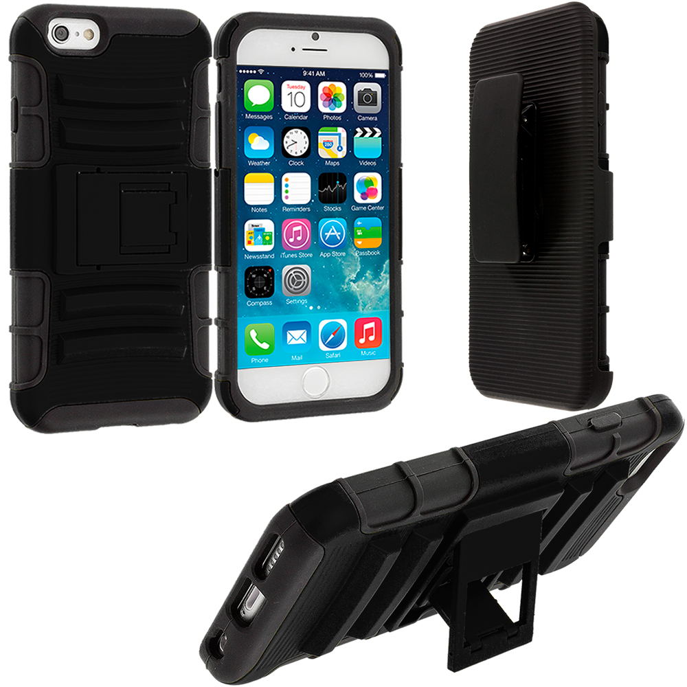 Apple iPhone 6 6S (4.7) Black Hybrid Heavy Duty Hard/Soft Case Cover with Holster