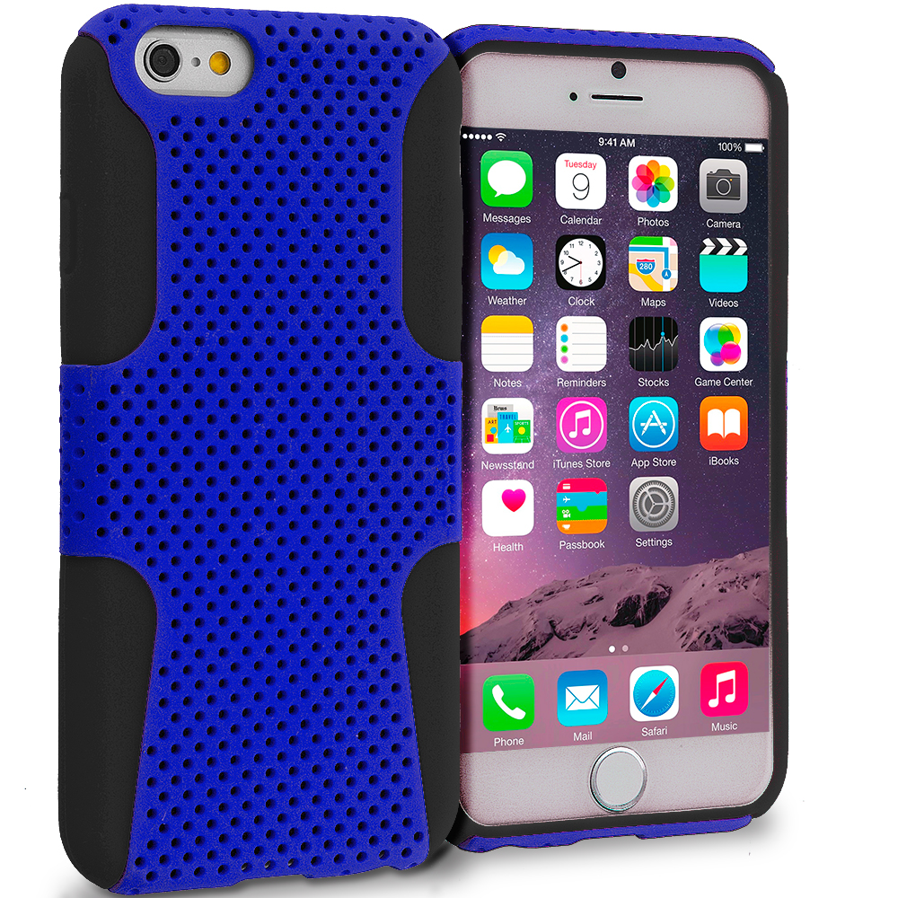 Apple iPhone 6 6S (4.7) 4 in 1 Combo Bundle Pack - Hybrid Mesh Hard/Soft Case Cover : Color Black / Blue