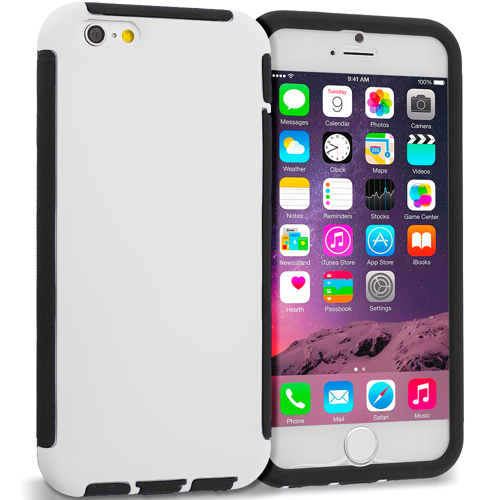 Apple iPhone 6 6S (4.7) Black / White Hybrid Hard TPU Shockproof Case Cover With Built in Screen Protector