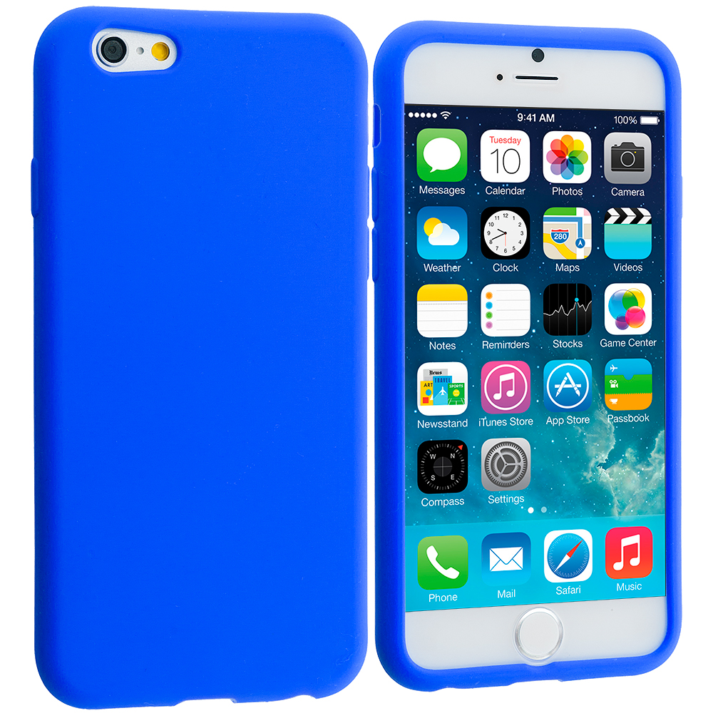 Apple iPhone 6 Plus 6S Plus (5.5) Blue Silicone Soft Skin Rubber Case Cover