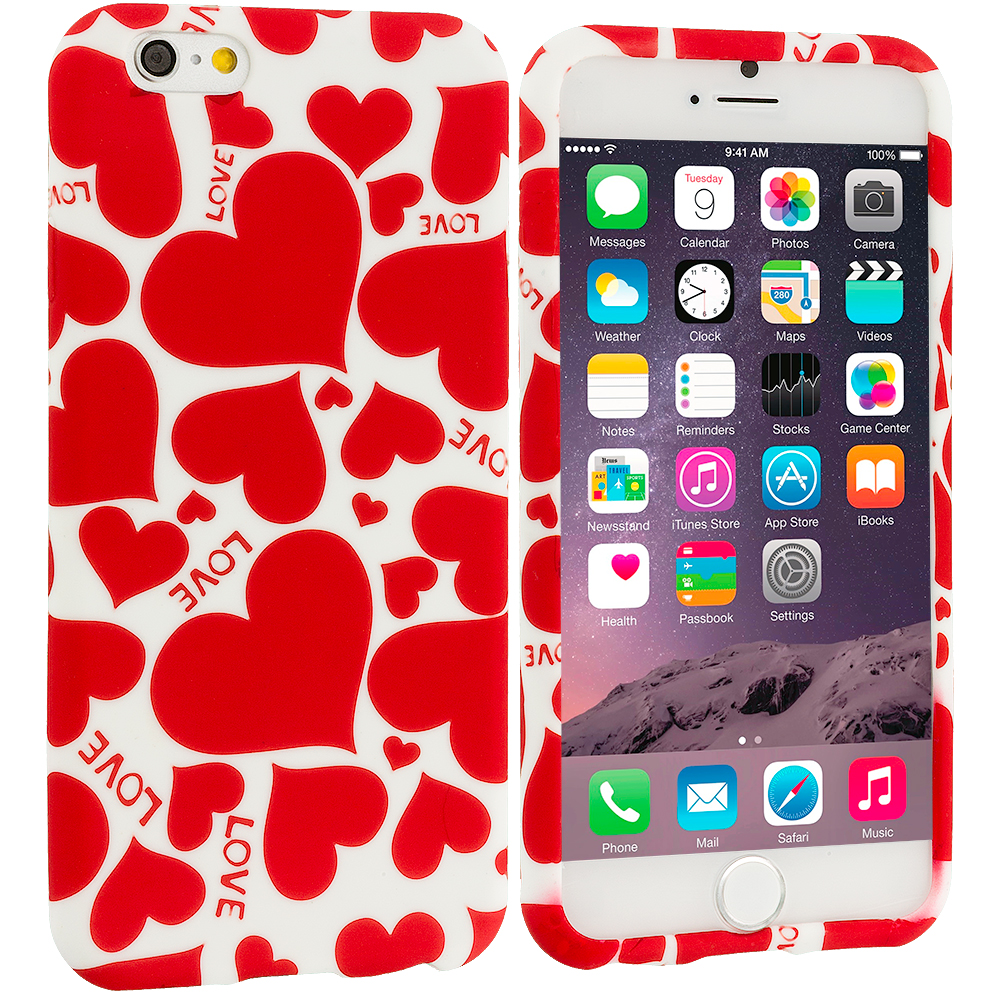 Apple iPhone 6 Plus 6S Plus (5.5) Hearts w Different Shapes TPU Design Soft Rubber Case Cover