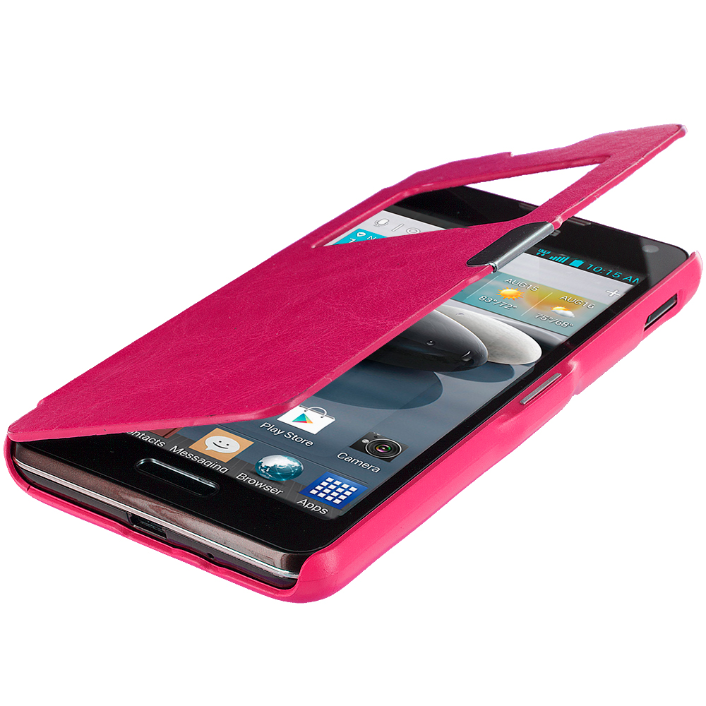 LG Optimus F6 D500 Hot Pink (Open) Magnetic Flip Wallet Case Cover Pouch