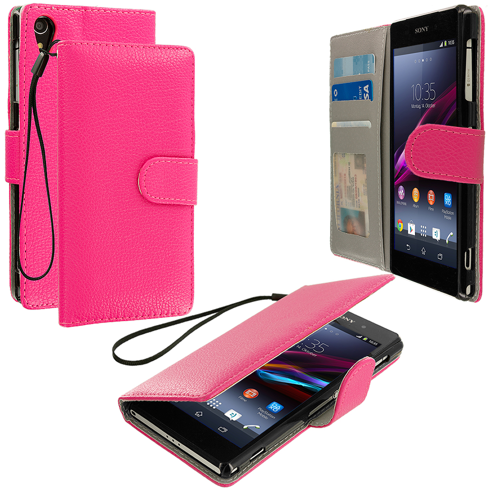 Sony Xperia Z2 Hot Pink Leather Wallet Pouch Case Cover with Slots