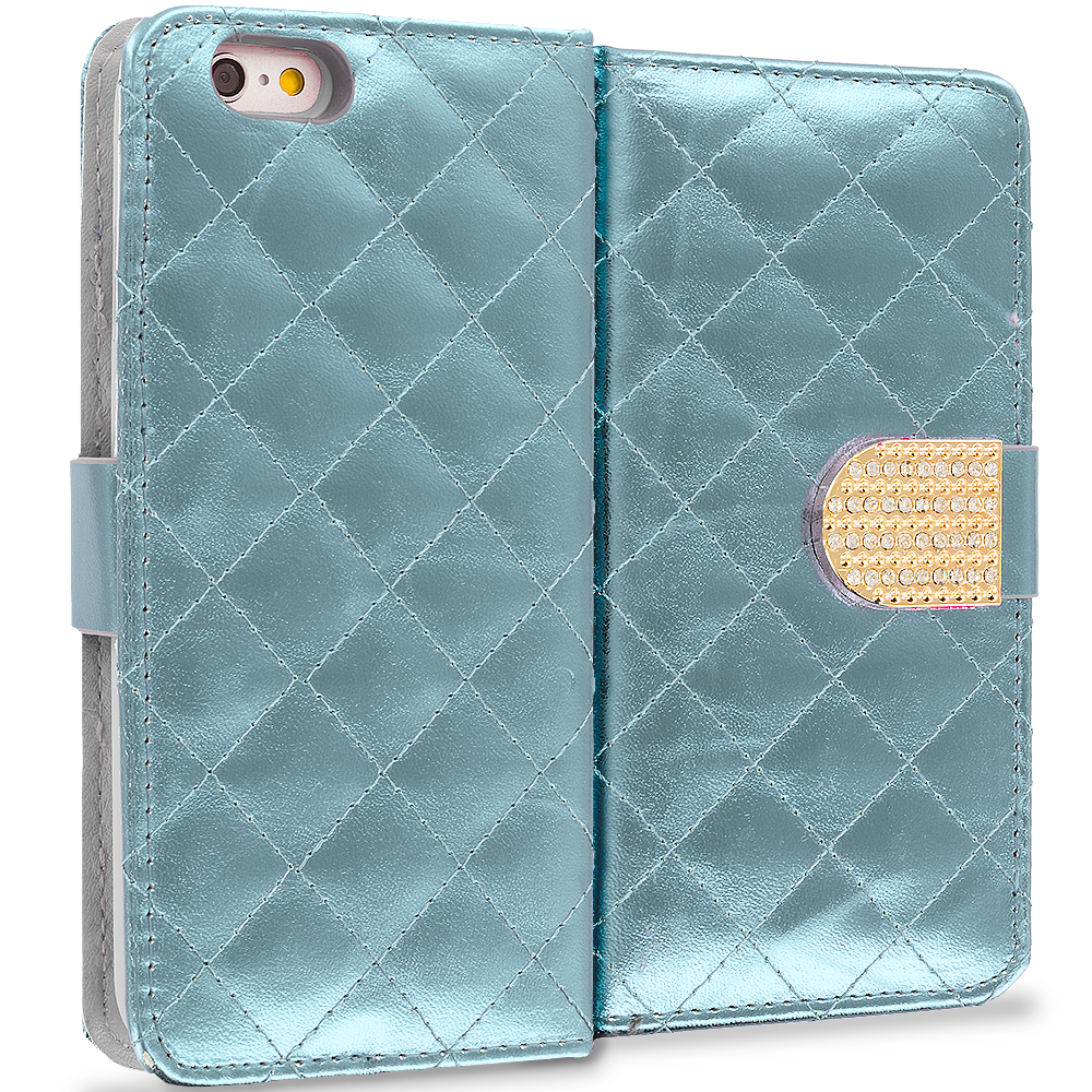 Apple iPhone 6 6S (4.7) White Luxury Wallet Diamond Design Case Cover With Slots
