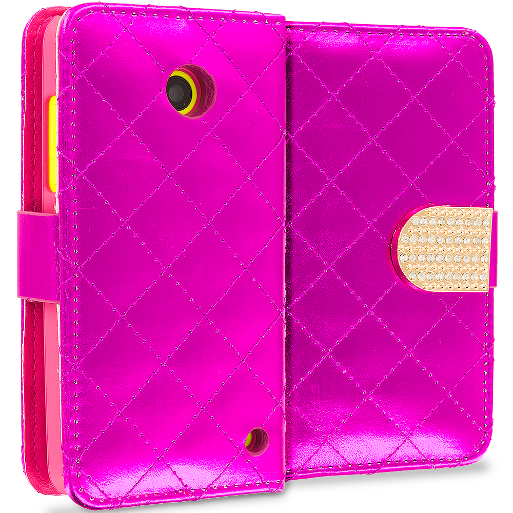 Nokia Lumia 530 Hot Pink Luxury Wallet Diamond Design Case Cover With Slots