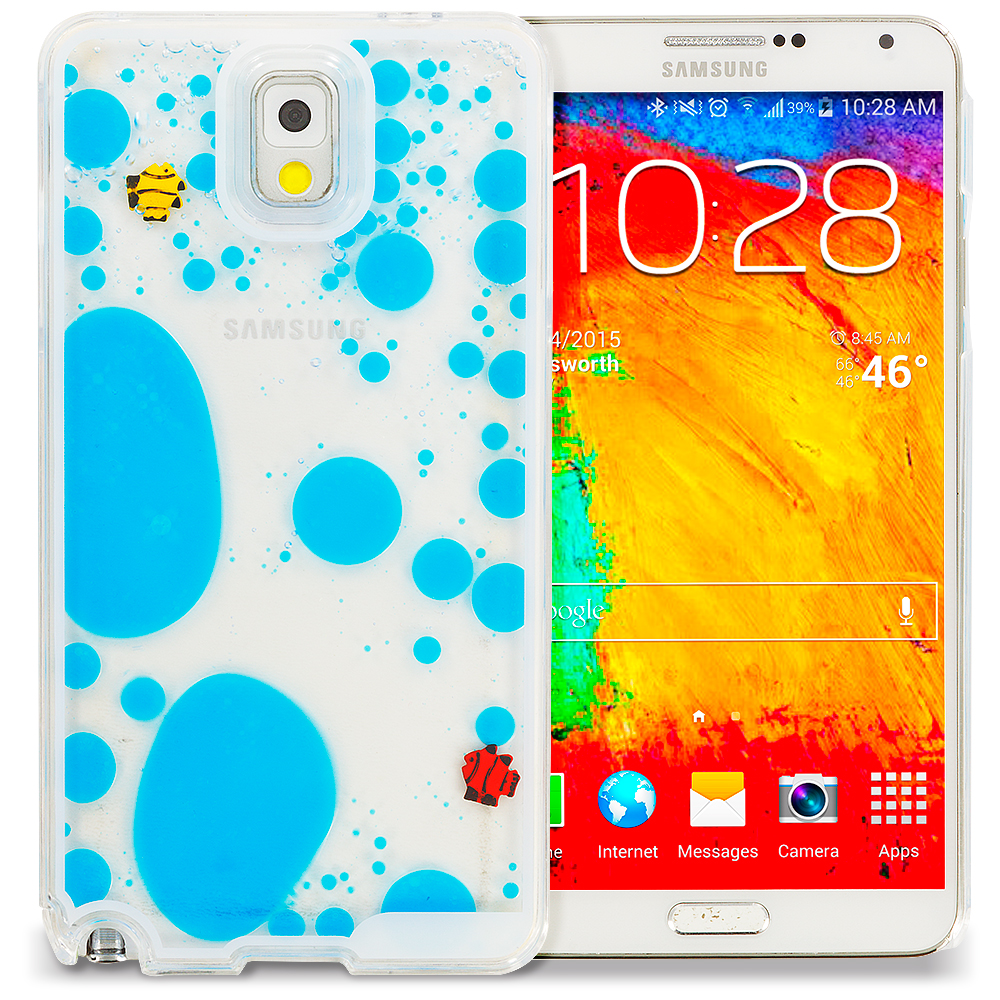 Samsung Galaxy Note 3 N9000 Blue Fish Tank 3D Liquid Hard Case Cover