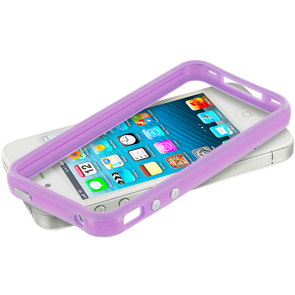 Apple iPhone 5/5S/SE Combo Pack : Light Pink TPU Bumper Frame Case Cover : Color Light Purple