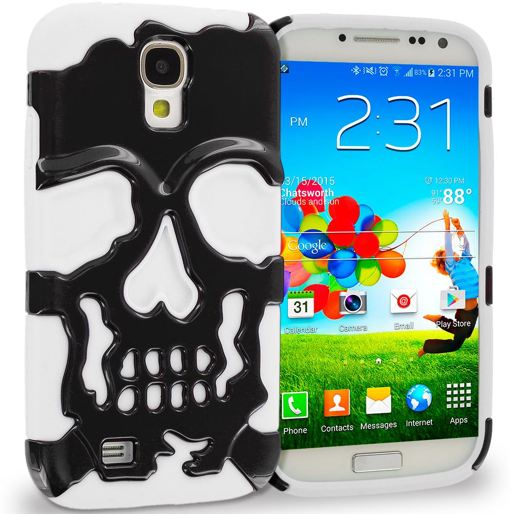 Samsung Galaxy S4 White / Black Hybrid Skull Hard/Soft Case Cover
