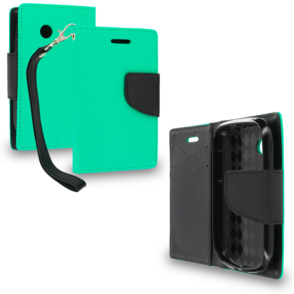 LG 306G / Aspire LN280 Mint Green / Black Leather Flip Wallet Pouch TPU Case Cover with ID Card Slots
