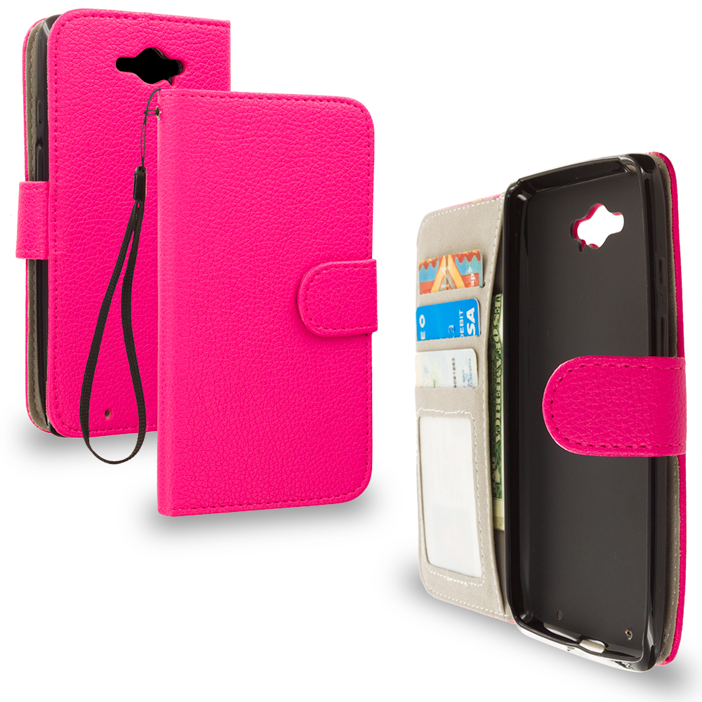 Motorola Droid Turbo Hot Pink Leather Wallet Pouch Case Cover with Slots