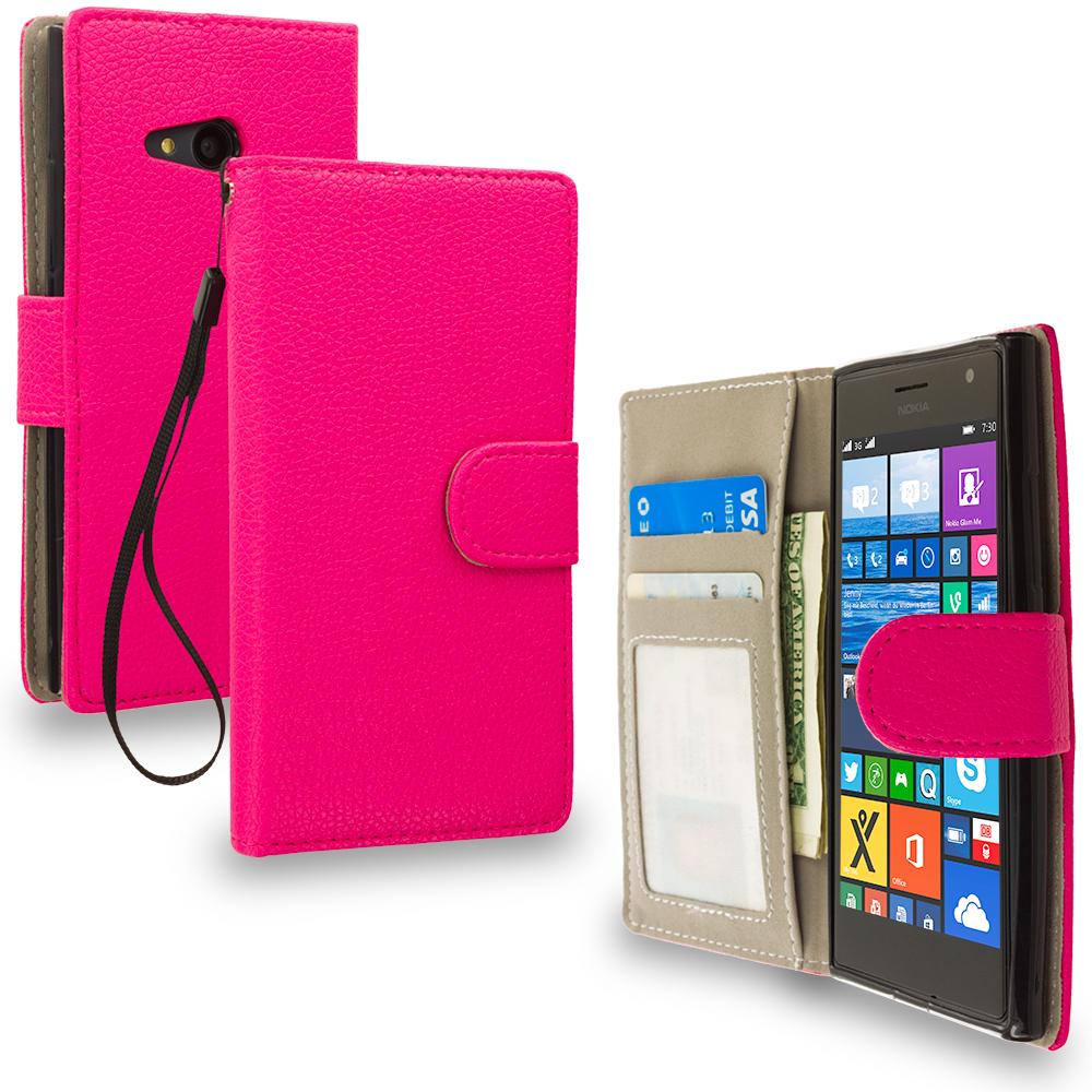 Nokia Lumia 730 735 Hot Pink Leather Wallet Pouch Case Cover with Slots