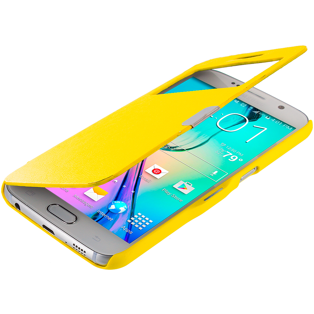 Samsung Galaxy S6 Combo Pack : Red Window Magnetic Flip Wallet Case Cover Pouch : Color Yellow Window