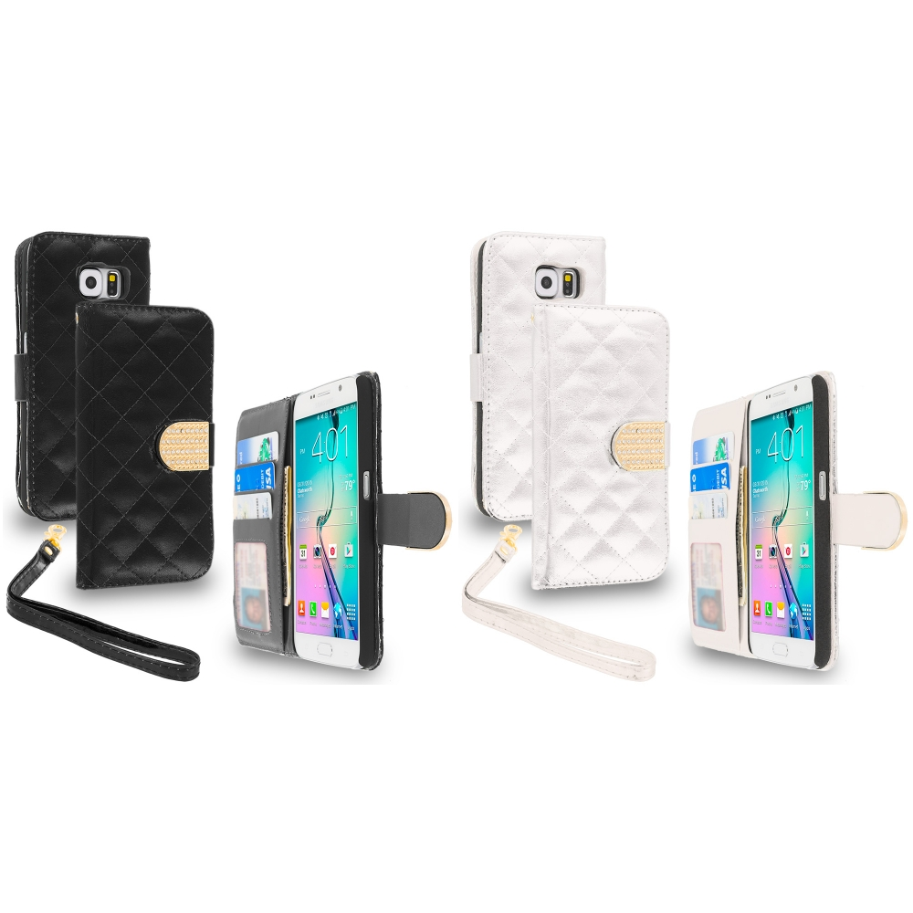Samsung Galaxy S6 Combo Pack : Black Luxury Wallet Diamond Design Case Cover With Slots
