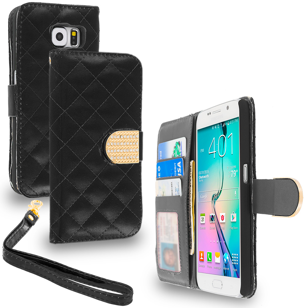Samsung Galaxy S6 Combo Pack : Black Luxury Wallet Diamond Design Case Cover With Slots : Color Black