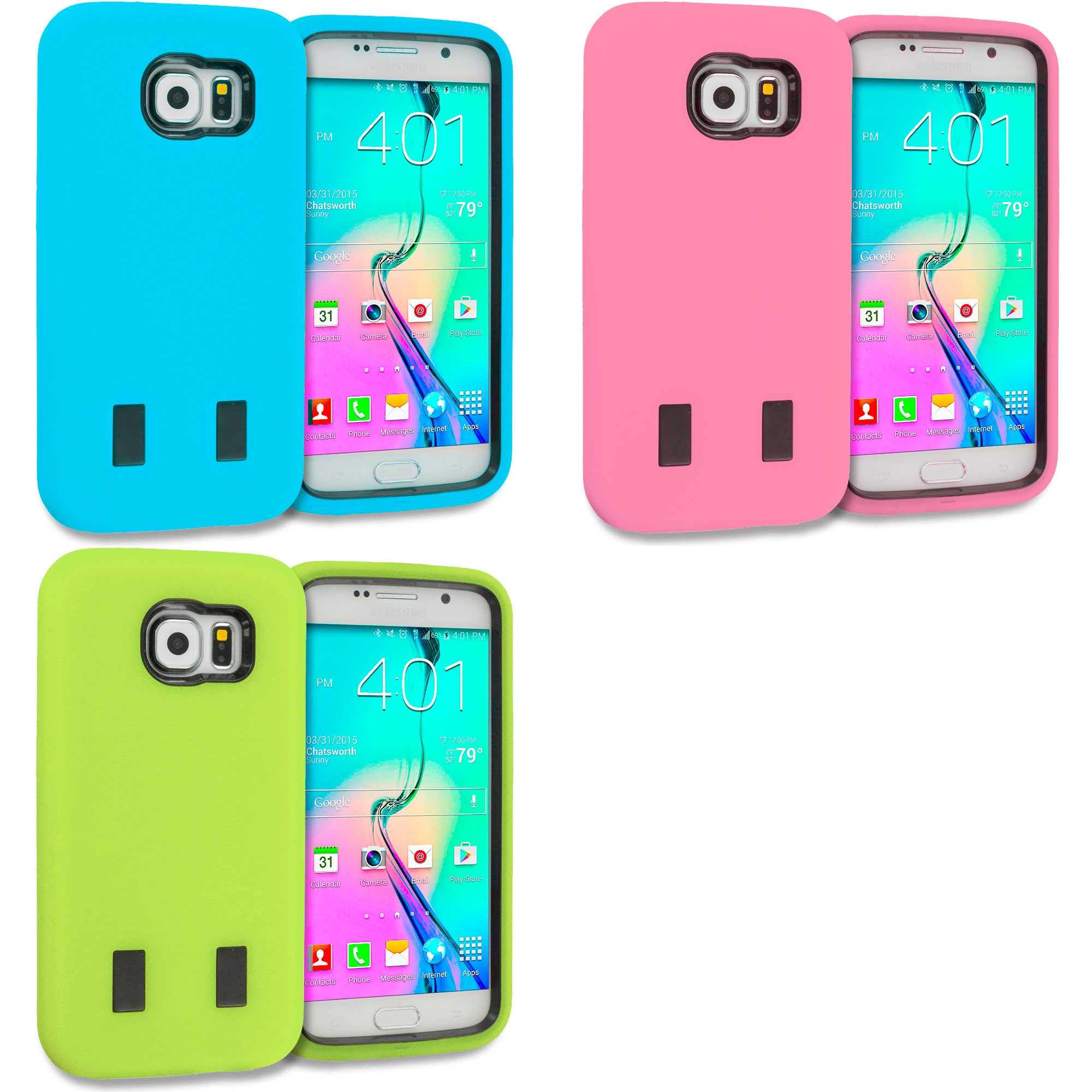 Samsung Galaxy S6 Combo Pack : Baby Blue / Black Hybrid Deluxe Hard/Soft Case Cover