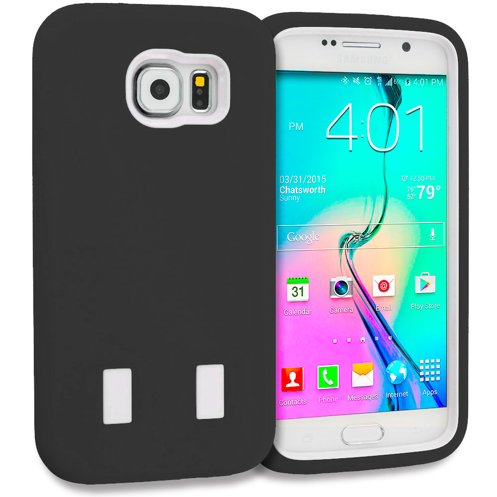 Samsung Galaxy S6 Combo Pack : Black / Black Hybrid Deluxe Hard/Soft Case Cover : Color Black / White