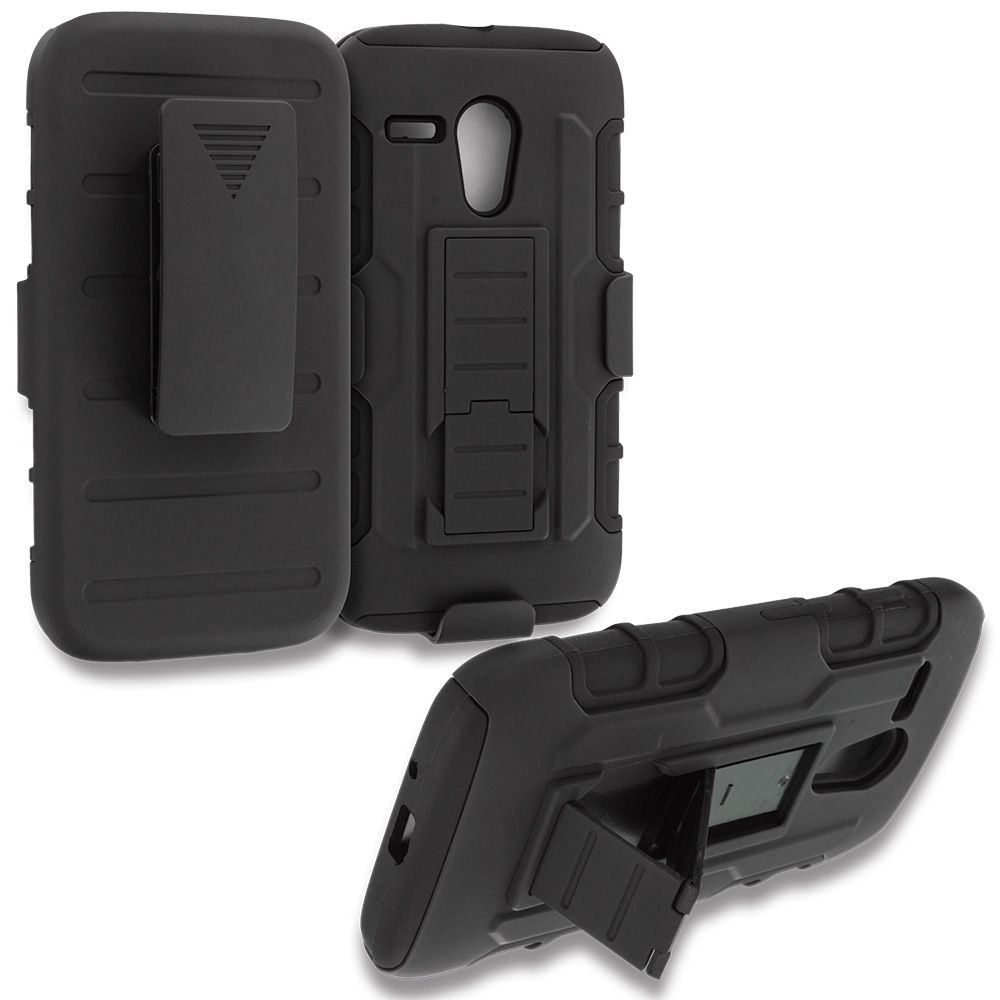 Motorola Moto G 2 in 1 Combo Bundle Pack - Hot Pink / Black Hybrid Heavy Duty Rugged Case Cover with Belt Clip Holster : Color Black