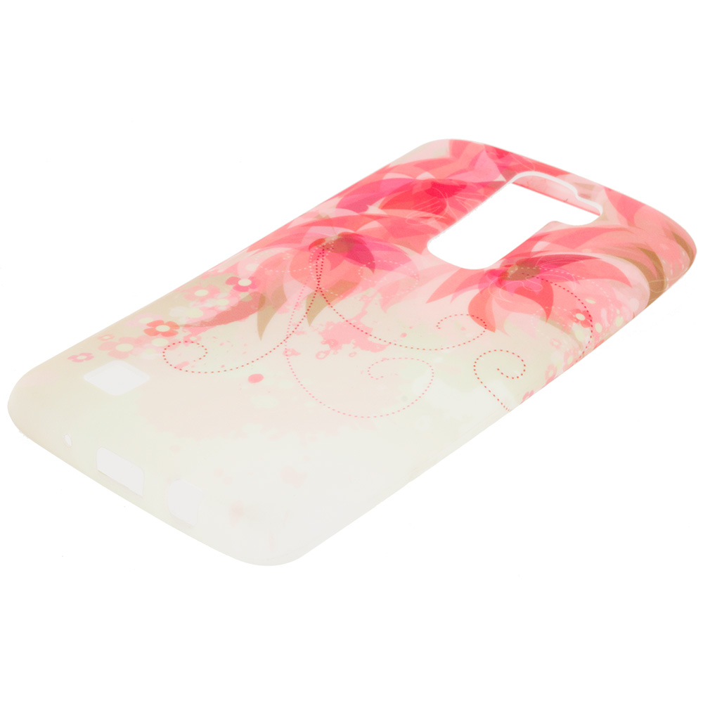 LG Tribute 5 K7 Phoenix 2 Escape 3 Treasure Flower With Red Leaf TPU Design Soft Rubber Case Cover