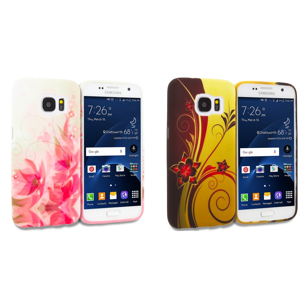 Samsung Galaxy S7 Combo Pack : Flower with Red Leaf TPU Design Soft Rubber Case Cover