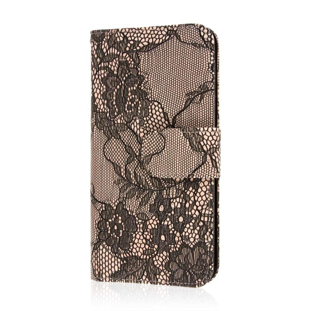 HTC One M9 Plus - Black Lace MPERO FLEX FLIP Wallet Case Cover