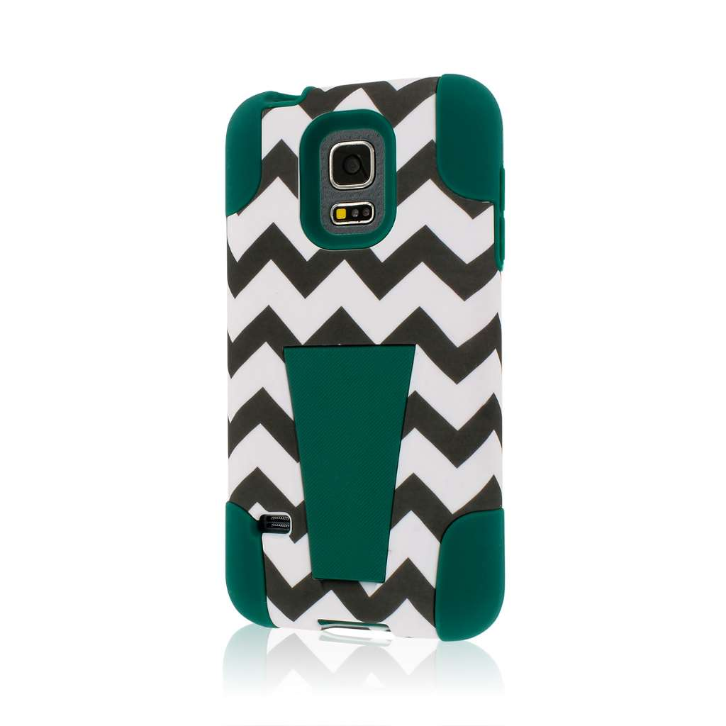 Samsung Galaxy S5 Mini - Teal Chevron MPERO IMPACT X - Kickstand Case Cover