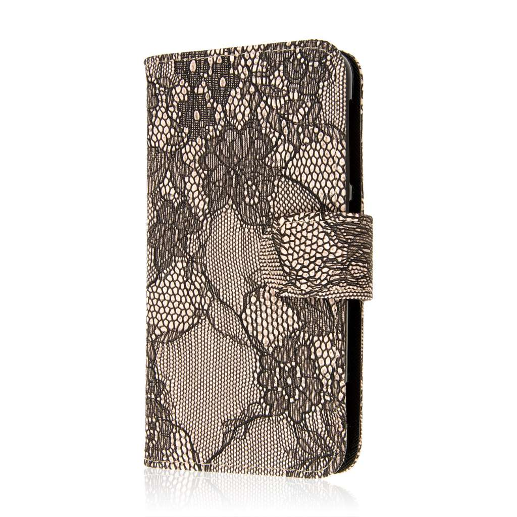 HTC Desire EYE - Black Lace MPERO FLEX FLIP Wallet Case Cover