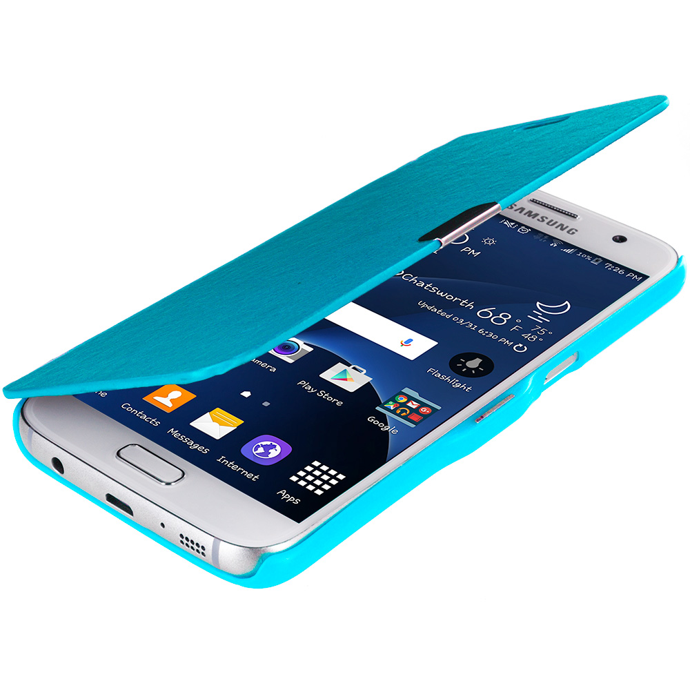 Samsung Galaxy S7 Combo Pack : Baby Blue Magnetic Flip Wallet Case Cover Pouch : Color Baby Blue