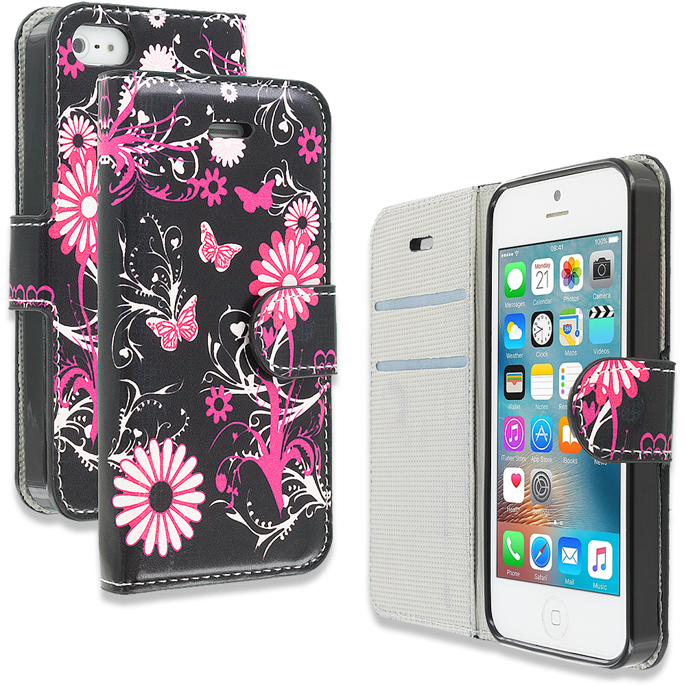 Apple iPhone 5/5S/SE Pink Butterfly Flower Design Wallet Flip Pouch Case Cover with Credit Card ID Slots