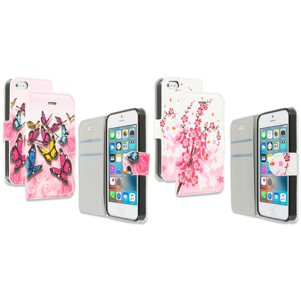 Apple iPhone 5/5S/SE Combo Pack : Pink Colorful Butterfly Design Wallet Flip Pouch Case Cover with Credit Card ID Slots