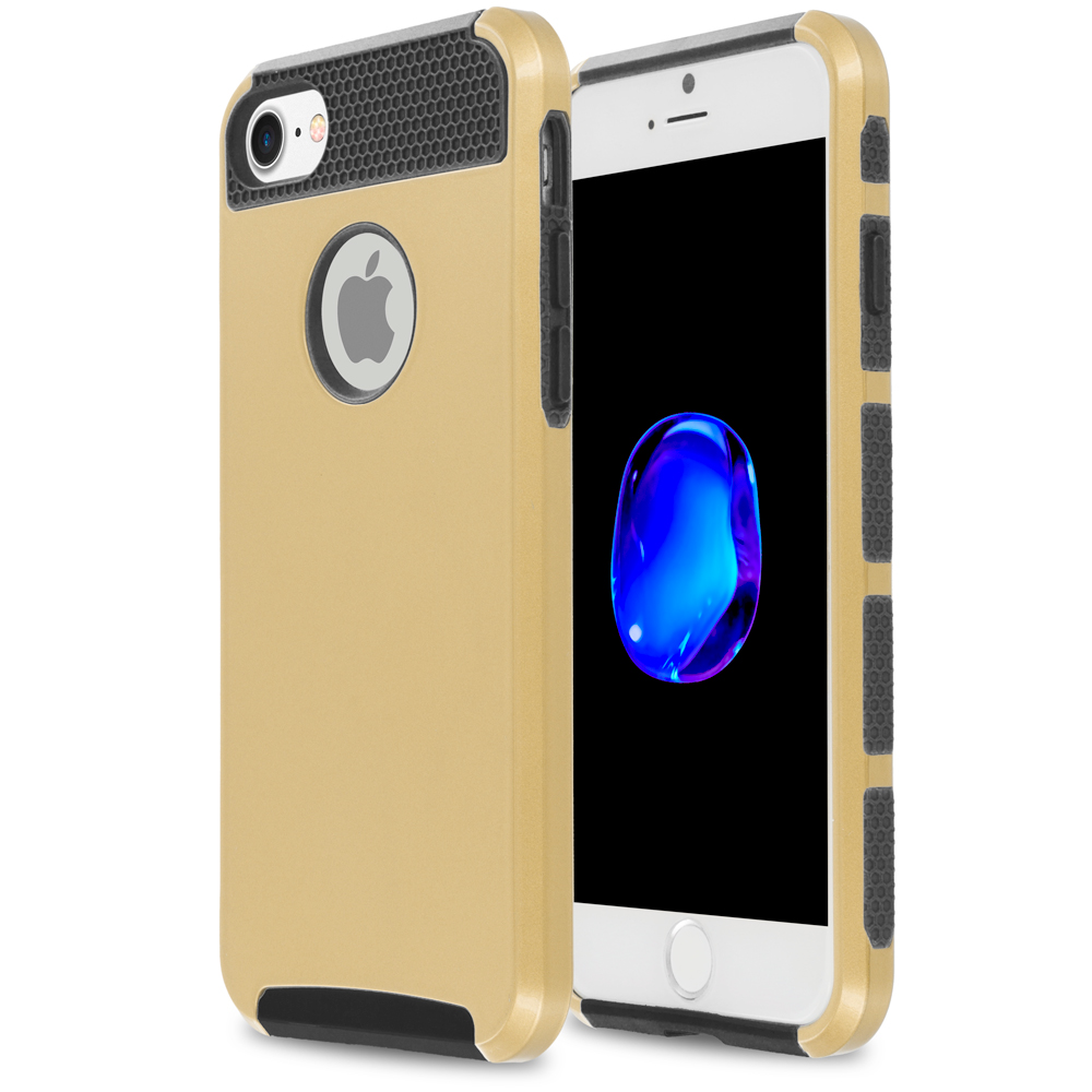 Apple iPhone 7 Plus Gold / Black Hybrid Hard TPU Honeycomb Rugged Case Cover