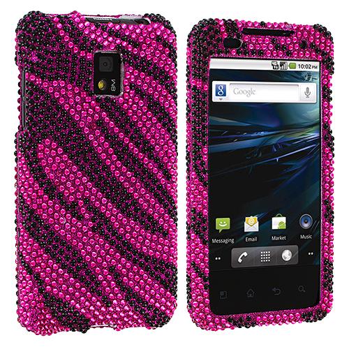 LG Optimus G2X P990 Hot Pink n Black Zebra Bling Rhinestone Case Cover
