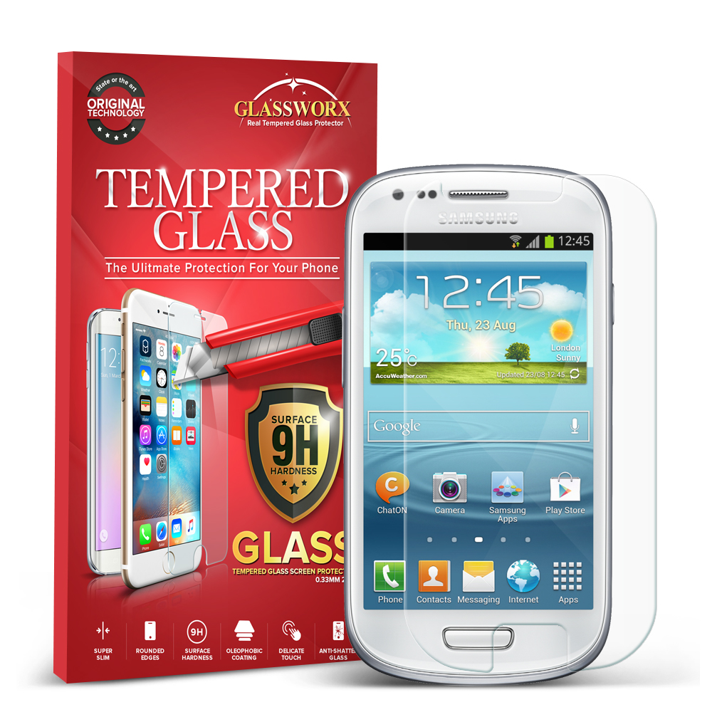 Samsung Galaxy S3 Mini Clear GlassWorX HD Tempered Glass Screen Protector