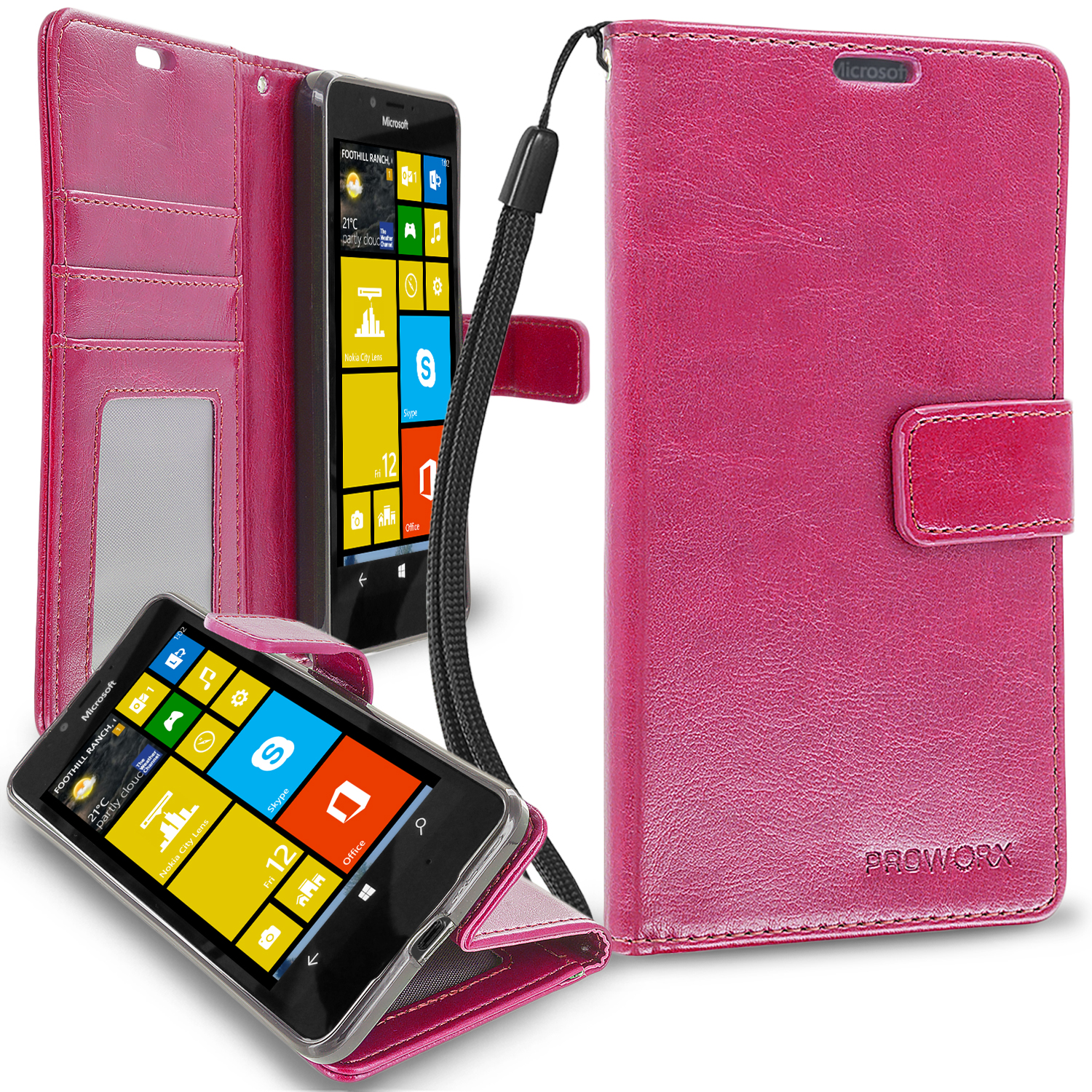 Microsoft Lumia 650 Hot Pink ProWorx Wallet Case Luxury PU Leather Case Cover With Card Slots & Stand